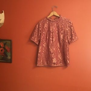 H&M rose gold metallic lace  blouse small